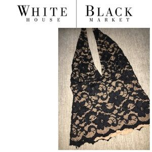 WHBM black lace halter top, tan lining